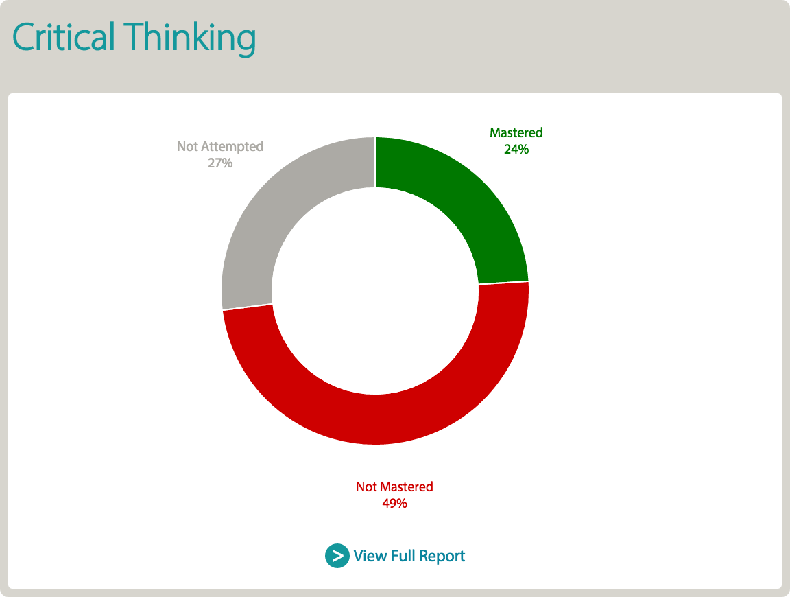 Critical Thinking Report screen
